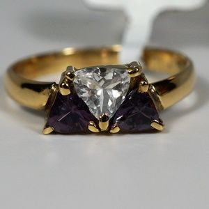 Jewelry - 18KY Custom made Purple & White Sapphire ring
